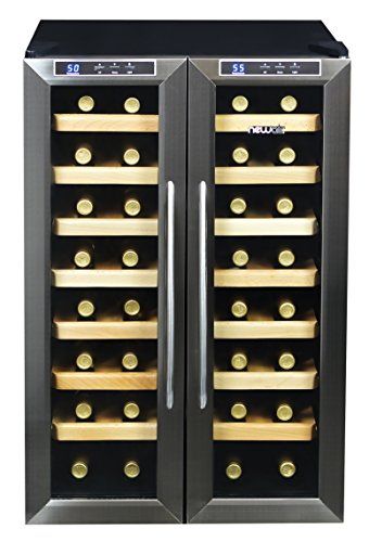 NewAir AW-321ED 32 Bottle Dual Zone Thermoelectric Wine Cooler, Stainless Steel & Black by NewAir