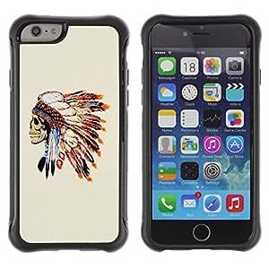 KROKK CASE Apple Iphone 6 PLUS 5.5 - Indian skull native American feathers - Funda Carcasa Bumper con Absorción de Impactos y Anti-Arañazos Espalda Slim Rugged Armor