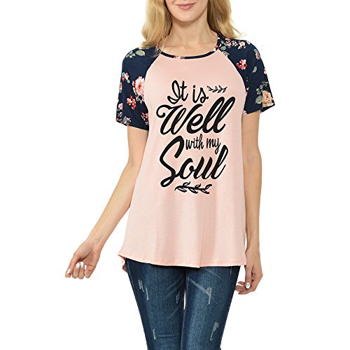 It is Well With My Soul Womens Raglan Tee With Floral Short Sleeves T-Shirts(CT200-378) (Large, Rose)