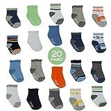 Little Me 20 Pair Pack Unisex Baby Infant Newborn Boys Anklet Socks in Gift Box Set, Sport, Multi, 0-12/12-24 Months