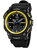 OHSEN LCD Dual Core Mens Women Sport Date Day Yellow Stopwatch Black Rubber Watch Gift