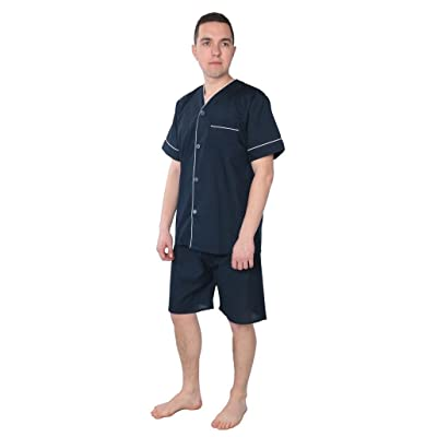 Beverly Rock Men's Solid Woven Short Sleeve Short Leg Pajama Set at Amazon Men's Clothing store