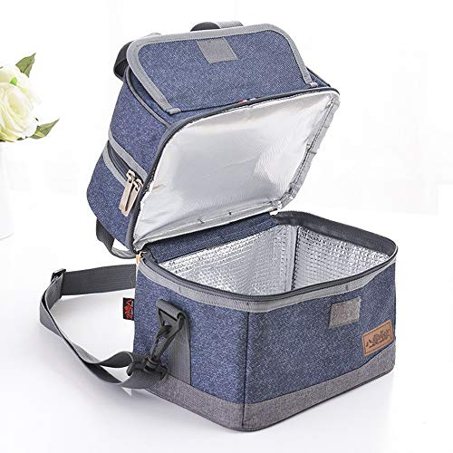 Toy Bag Denim (Rayhee Large Lunch Bag / Denim Oxford Cloth Double Deck Separate Layer Dual Insulated Comparement Lunch Box Thermal Food Container with Adjustable Shoulder Strap for Men Women Adults Kids)