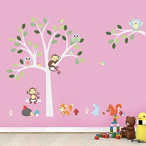 (Pakdeevong shop Clever fox squirrel monkeys, owls, tree wall decals for White. Children love birds Vinyl Wall Decal Sticker Nursery Decor.)