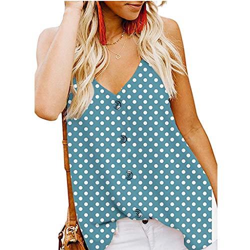 - Sunhusing Women's V-Neck Button-Down Sling Loose Tank Tops Wave Polka Dot Print Sleeveless Shirt Vest Light Blue
