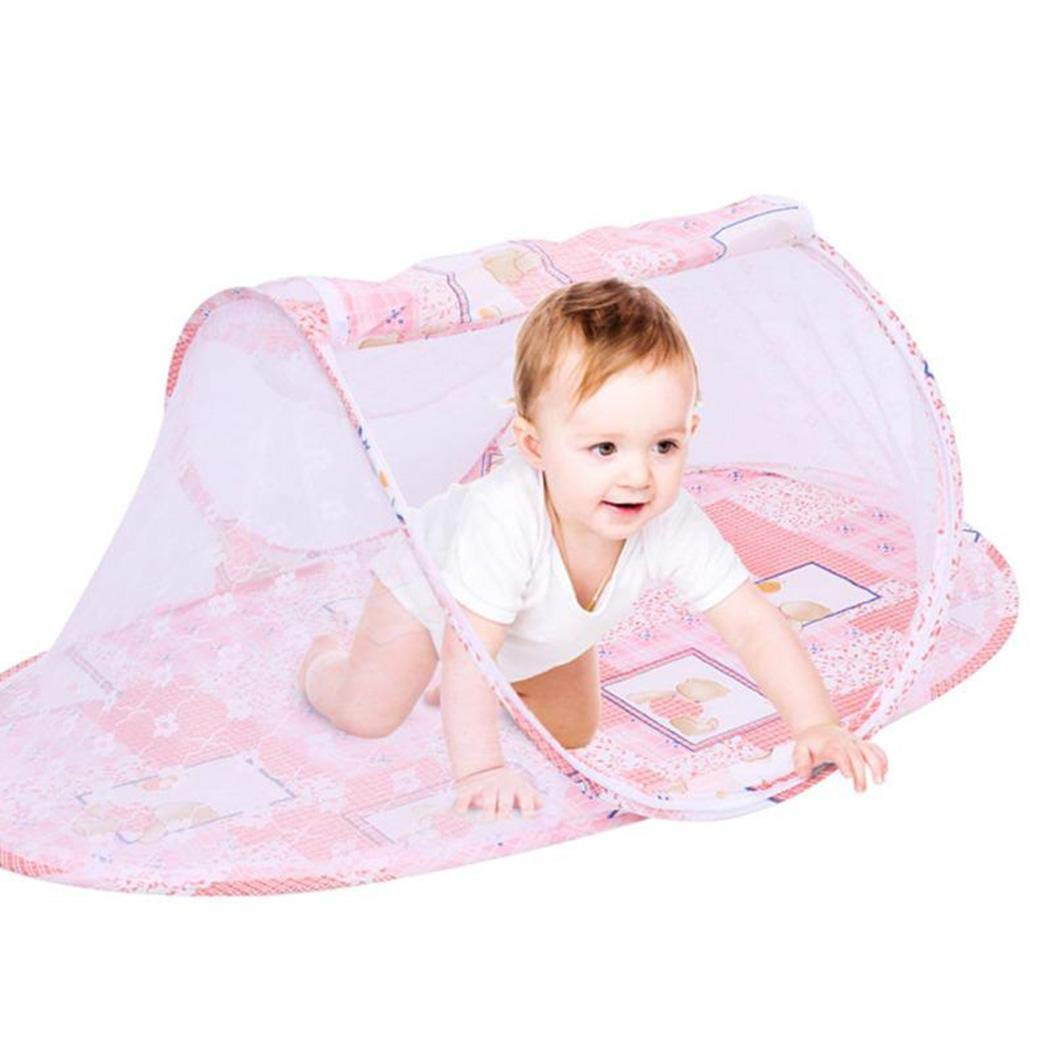 hevare Kids Baby Multifunctional Folding Zipper Cartoon Mosquito Net Crib Netting