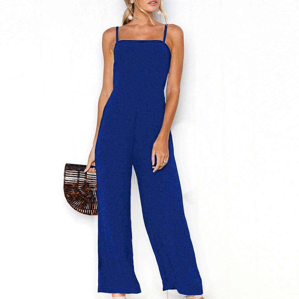 8cf5bff1475 Amazon.com   Fashion Women Holiday Wide Leg Pants Long Jumpsuit Backless  Strappy Playsuit (Black