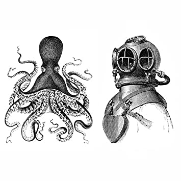Octopus and deep sea diver set black and white nautical vintage style posters art wall decor