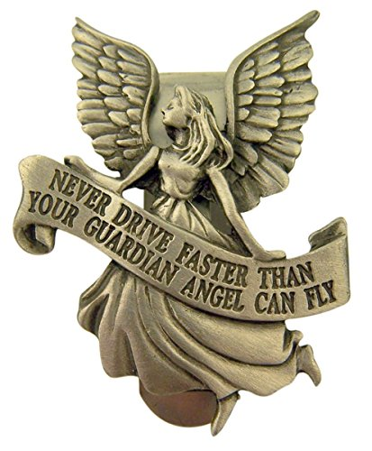 (Pewter Guardian Angel with Banner Never Driver Faster Visor Clip, Inch)