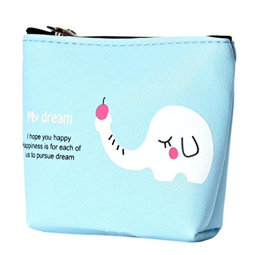 YJYdada Waterproof Zipper Pencil Case Cute Portable Key Coin Purse Makeup Bag (Tri Fold Tie Case)
