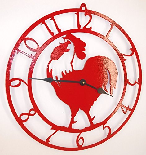 (Rooster Clock. Fire Red Color with Black Hands. Handmade in USA. 15 Inch Wide.)