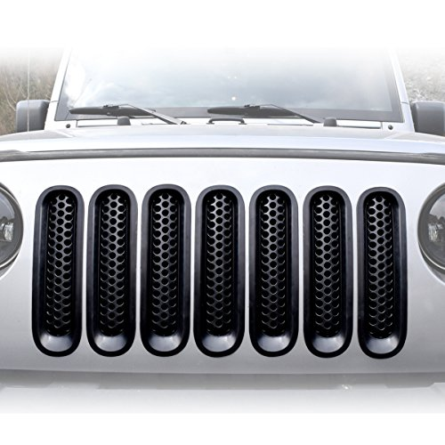 jeep jk red grill inserts - 5
