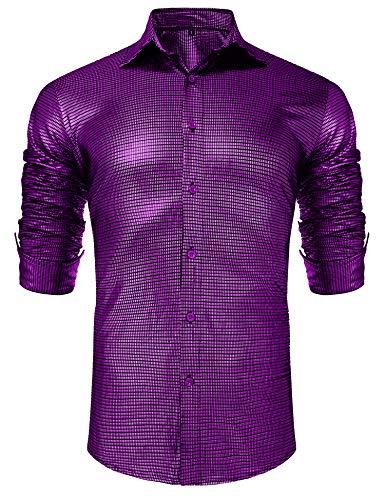 URRU Men's Metallic Shiny Nightclub Elastic Slim Fit Long Sleeve Button Down Sequins Shirt for 70s Disco Party Purple ()