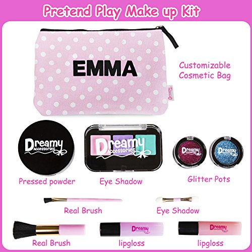 Pretend Play Makeup For Girls - With Customizable Cosmetic Bag - No Mess Fake Makeup for Little Kids w/ Real Makeup Brushes Pressed Powder, Eyeshadow, Lip Gloss, Glitter Pots Educational Toy