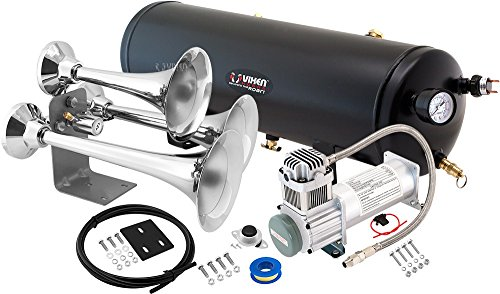 Vixen Horns Loud 152dB 3/Triple Chrome Trumpet Train Air Horn with 3 Gallon Tank and 200 PSI Compressor Full/Complete Onboard System/Kit ()