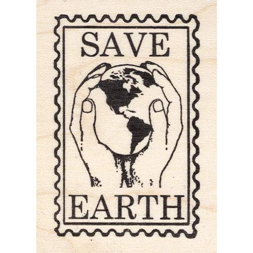 Earth Postage - Save Earth Post Rubber Stamp Faux Postage