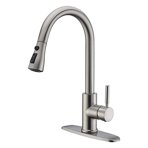 WEWE Single Handle High Arc Brushed Nickel Pullout Kitchen Faucet