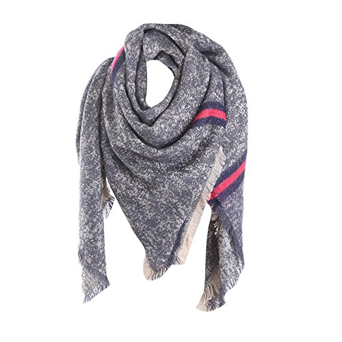 Realdo Women Scarf Solid Stripe Stitch Long Cashmere Wool Shawl ()