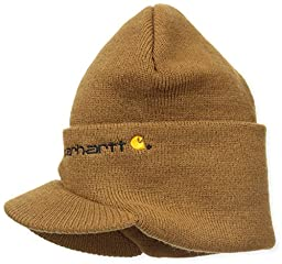 Carhartt Men\'s Knit Hat With Visor,Brown,One Size