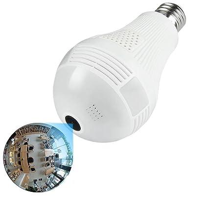 Cámara IP WiFi Bombilla, Autbye 960P cámara de seguridad panorámica inalámbrica 360 °, 1.3