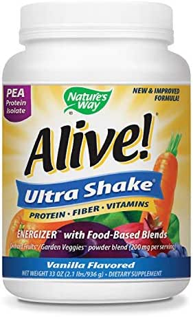 Nature's Way Alive! Pea Protein Shake, Includes Vitamins, Fiber and Food-Based Blends (1,150mg per serving), Vanilla Flavor, 26 Servings