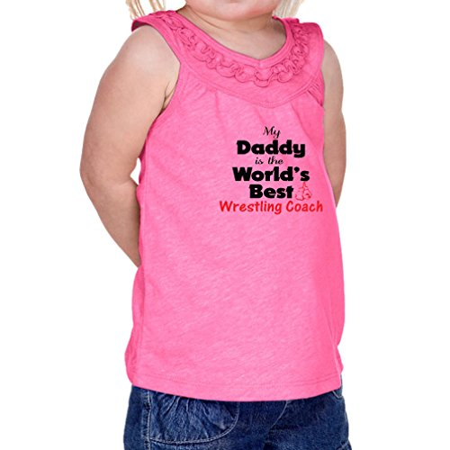 Cute Rascals My Daddy is The World's Best Wrestling Coach 60/40 Cotton/Polyester Tank Ruffle Neck Girl Infant Jersey Tee Yoke - Hot Pink, 6 Months by Cute Rascals