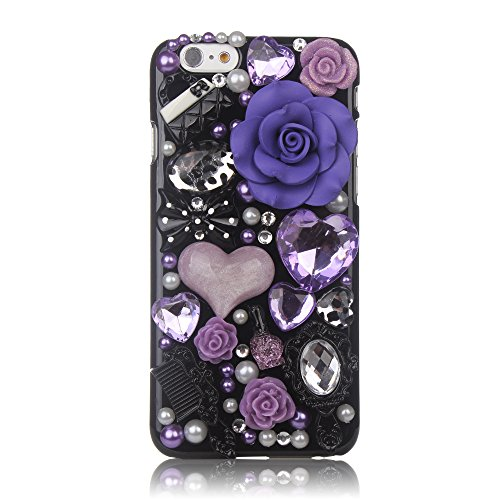 iPhone 6 Case, FiveLimit(TM) For Apple iPhone 6 4.7 3D Handmade Luxury Bling Crystal Pearl Love Purple Fairy Tale Flower Diamond Cover Case (Package includes: 1 X Screen Protector) (Purple Fairy Flower)