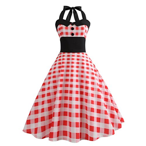 Cocktail Prom Dresses 50's 60's Rockabilly Bandage Party Prom Dress (L, Red) ()