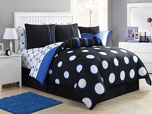 Full Size Complete BED-IN-A-BAG in Blue Pretty Polka Dot 10 Pc Set w/ Sheets & Decorative Pillows