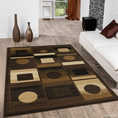 Allstar 8×10 Brown Modern and Contemporary Machine Carved Rectangular Accent Rug with Ivory, Mocha and Espresso Geometric Square Block Design 7 9 x 10 2