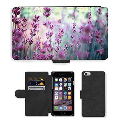"PU Leder Wallet Case Folio Schutzhülle // V00001812 Lavendel Pflanze Feld // Apple iPhone 6 PLUS 5.5"""