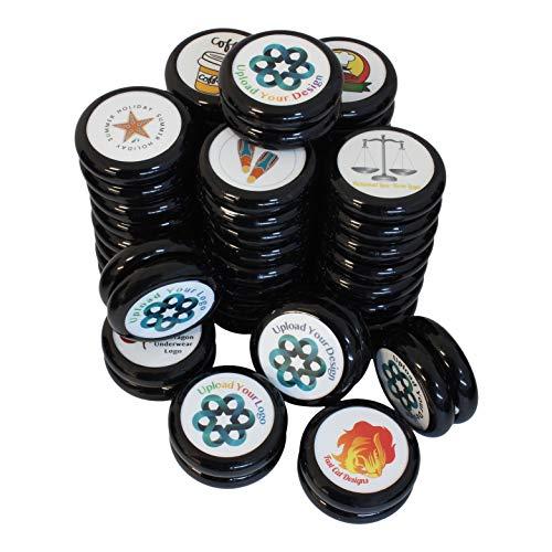 Spintastics 25 Pack Bulk Yoyos Black Professional Wood Axle Yoyo with Your Custom Graphic -