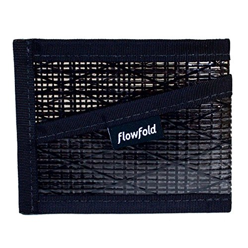 Flowfold Recycled Sailcloth Craftsman Three Pocket Card Holder Durable Slim Wallet Front Pocket Wallet, Card Holder (Black)