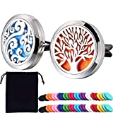 Tatuo 2 Pieces 316L Stainless Steel Car Aromatherapy Essential Oil Diffuser Air Freshener Vent Clip Locket with 48 Pieces Replacement Felt Pad (Cloud, Tree Patterns)