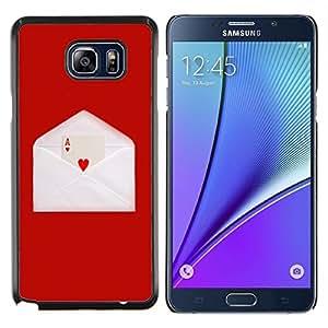 """Be-Star Único Patrón Plástico Duro Fundas Cover Cubre Hard Case Cover Para Samsung Galaxy Note5 / N920 ( Amor Ace Corazón tarjeta de juego sobre de la letra de Red"""" )"""