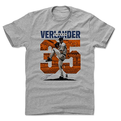 500 LEVEL Justin Verlander Cotton Shirt Large Heather Gray - Houston Baseball Men's Apparel - Justin Verlander Stadium O