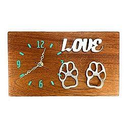 Pup Luv Cedar Wood and Metal Quartz Wall Clock, Dog Wall Art