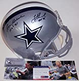 Troy Aikman & Roger Staubach Autographed Hand Signed Dallas Cowboys Full Size Football Helmet - with HOF Inscriptions - PSA/DNA