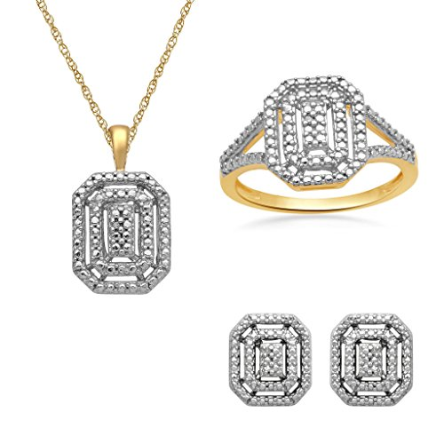 (Jewelili 18K Yellow Gold Plated Sterling Silver Diamond Accent Halo Pendant Necklace, Ring And Stud Earrings Box Set, Size 7)