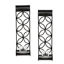 "Hosley's ® Set of 2 Iron Pillar Candle Wall Sconces- 14"" High. Ideal Gift for Spa, Aromatherapy, wedding. Hand made by Artisans"