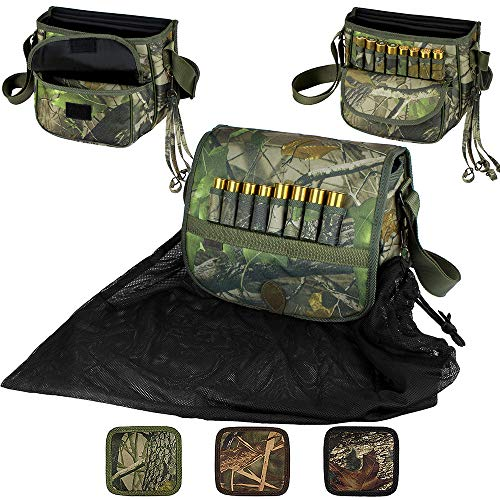 BronzeDog Waterproof Shell Pouch Nylon Duck Hunting Bag Ammo Shoulder 12 16 Gauge Cartridge Holder Hunting Accessories (Leafy Green)