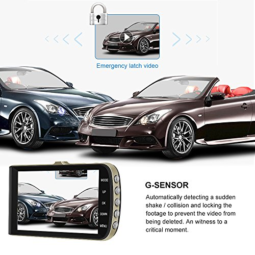 [2018 Upgraded] GEARGO Dash Cam 4'' Display 1080P HD Overhead Dashboard Mounted Camera Car Video Recorder with Dual Camera Wide Angle, G-Sensor, Loop Recording, Night Vision by GEARGO (Image #3)