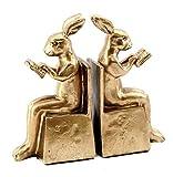 Bellaa 22883 Rabbit Bookends Studious Reading Bunny Bookshelf 6.5''