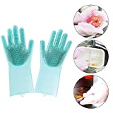 KOBWA Silicone Cleaning Brush Scrubber Gloves Heat Resistant,Reusable Grade Cleaning Eco-Friendly Magic Gloves Wash Scrubber,for Dish Wash,Cleaning,Pet Hair Care,Household