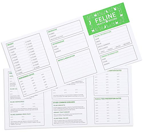 Juvale 24-Pack Cat and Kitten Health Record Keeper - Feline Medical and Vaccination Shot Booklet, 5 x 3.5 Inches