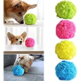 Magic Roller Ball Dog Toy, Automatic Roller Ball Mini Robot Cleaner Dog Cat Pet Toy Ball Cleaning Home Pet Toys(1 Rolling Ball + 4 Color Ball Cover)