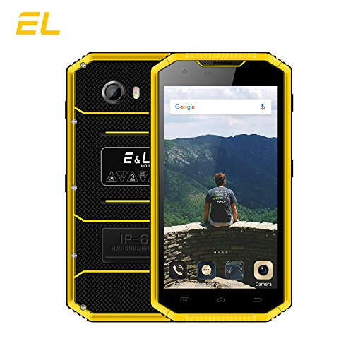 E&L W7S 4G LTE Rugged Smartphone Unlocked IP68 Waterproof Dustproof Shockproof 16GB/2GB Android 6.0 Camera 8MP Military Grade GSM Cellphone(Yellow) by E&L