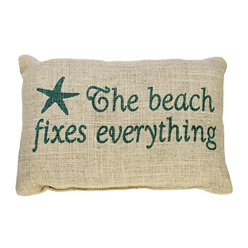 The Beach Fixes Everything   Burlap Accent Pillow With Star Fish   Aqua Print On Light Burlap   12 In X 8 In