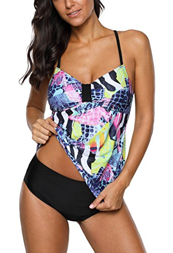 - ALove Ladies Floral Tankini Sets Two Piece Swimwear Padded Swimsuits XXL