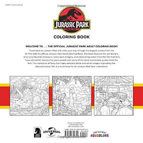 Amazon.com: Jurassic Park Adult Coloring Book (9781506709741): Universal  Studios: Books